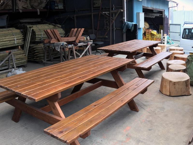 テーブルベンチ製作設置